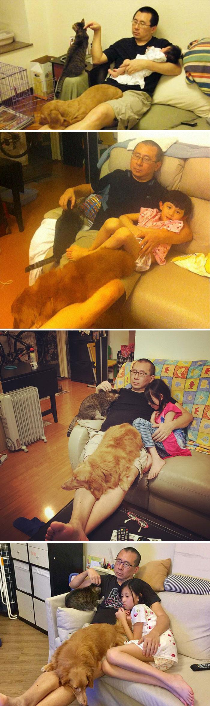 Padre, hija y mascotas recrean la misma foto durante 10 años