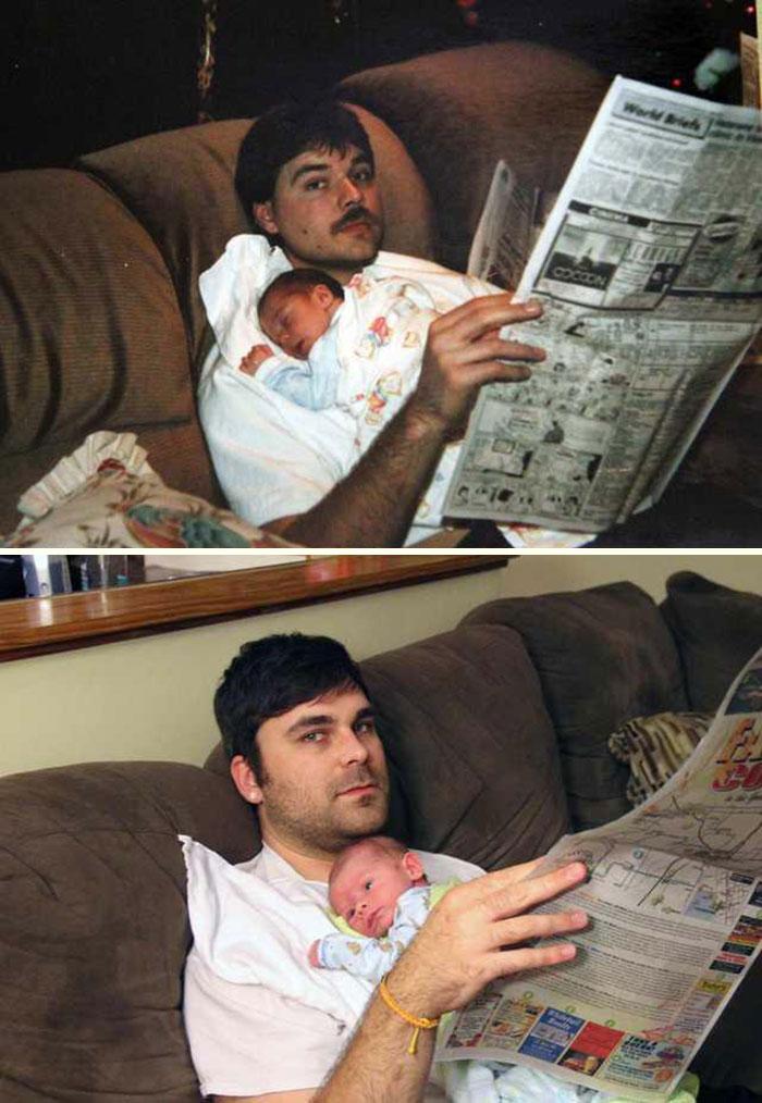 Mi marido tenía 3 meses cuando su padre murió en un accidente de coche. Como regalo para su abuela, hemos recreado esta foto suya con nuestro hijo recién nacido