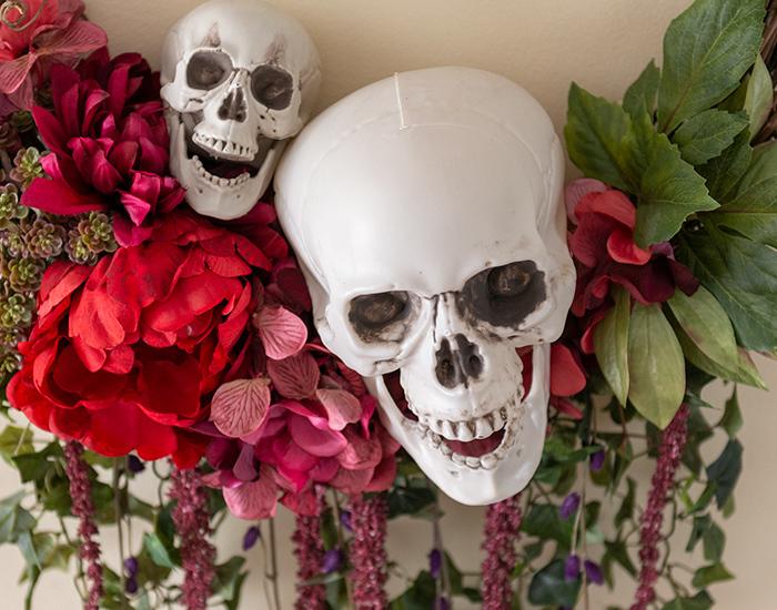 Bones & Blooms Halloween Wreath