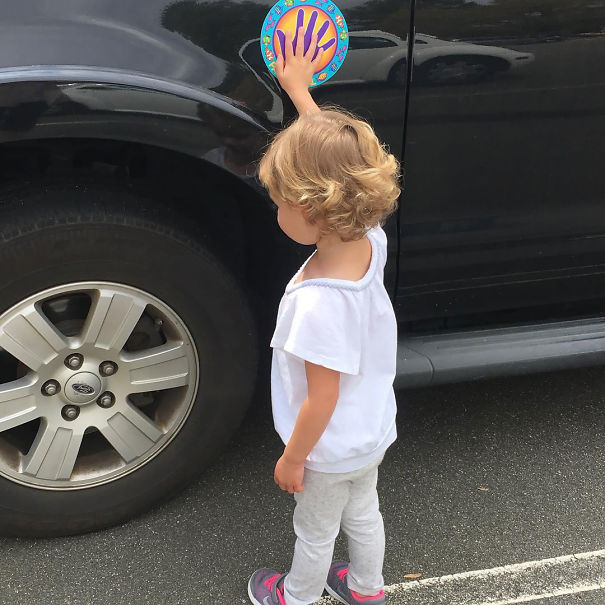 Although We Tell Our Daughter To Not Run Into Parking Lots, It Doesn't Mean She Is Going To Listen. I Bought This Car Magnet And It Has Been A Miracle Worker. She Loves Keeping Her Hand On The Bright Colors While Waiting For Mom And Will Try So Hard To Match Her Fingers To The Magnet's