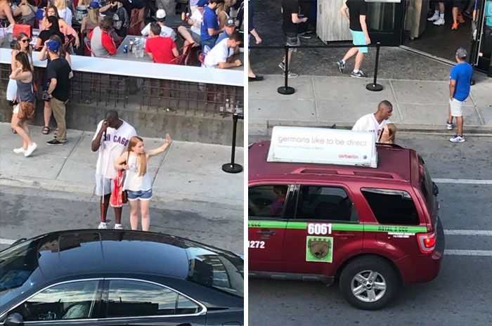 Wanted To Give A Shout-Out To This Girl. No Idea Who She Is, But We Are In Wrigleyville On The Rooftop Of Old Crow Smokehouse. There Was A Blind Cubs Fan Trying To Hail A Cab For Several Minutes Until The Lady Came Up And Asked Him If He Needed Help Hailing A Cab. She Stood There With Him Until One Pulled Up. Awesome To See Such Kindness In A World That The Media Portrays So Much Hate In. Share Freely In Hopes That Her Kindness Spreads