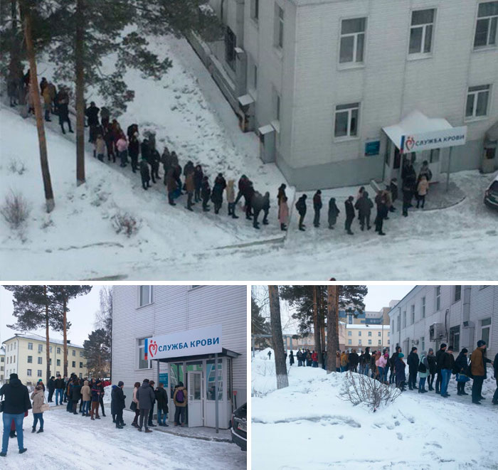 Russians Queuing Up In The Snow To Donate Blood After A Shopping Centre Fire Kills 64, Including 11 Children