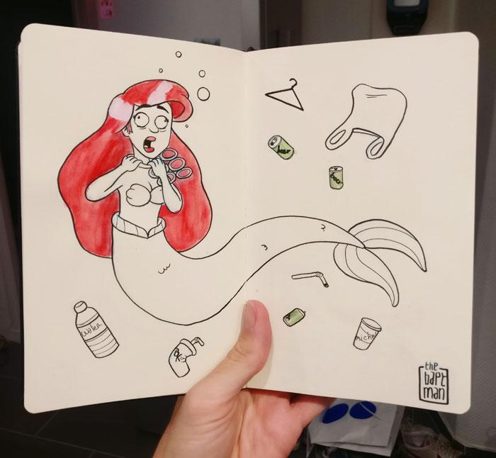 Für diesen Inktober zeichne ich, was passieren würde, wenn Superhelden und Disney Charaktäre mit Umweltkatastrophen konfrontiert würden