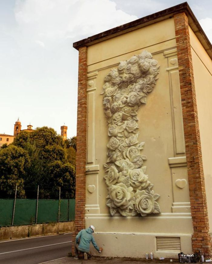 Artist Creates 'Huge' Flower Fist With Just Spray Paint