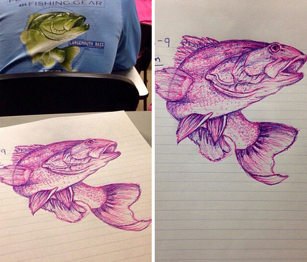 A Girl I Know Got Bored In Class And Drew This Guy's Shirt