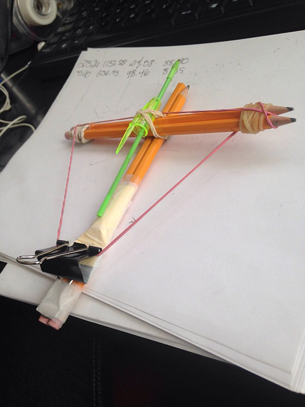 My Girlfriend Was Bored At The Office So She Made The Ultimate Office Crossbow
