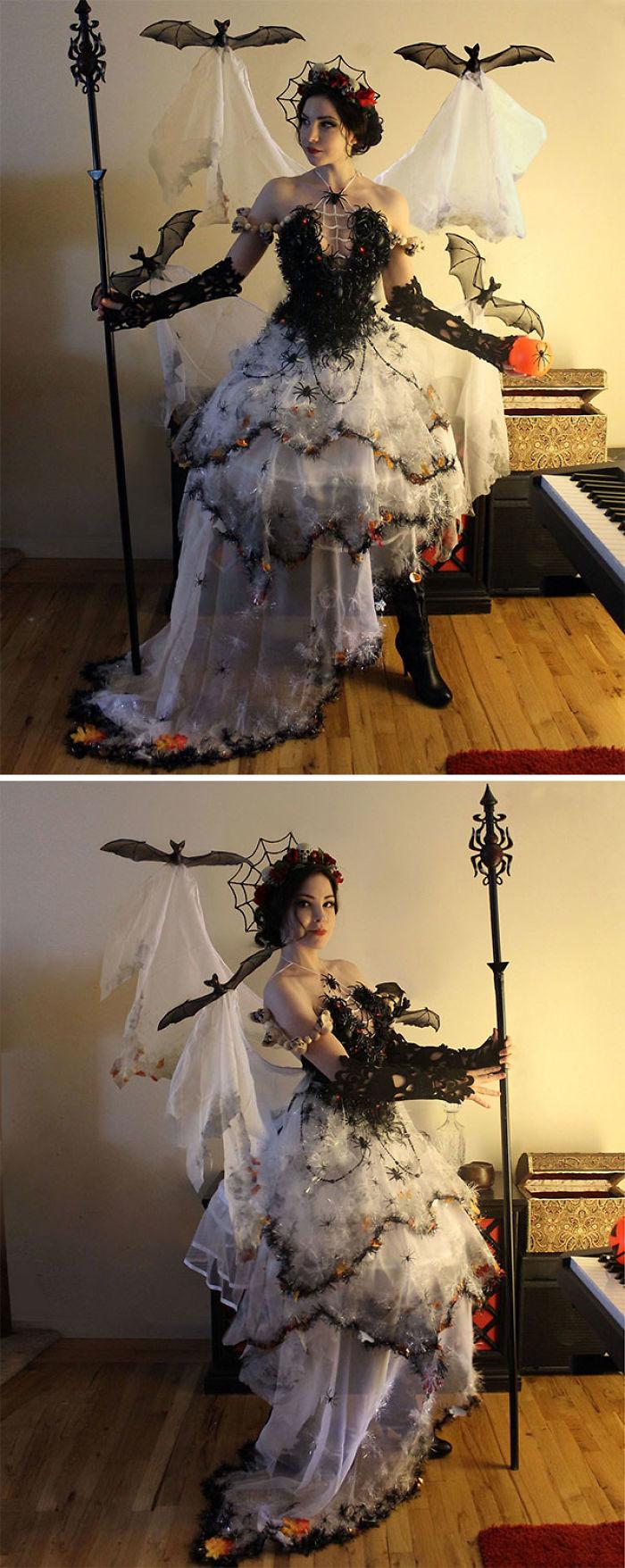 Disfraz hecho con decoración de Halloween