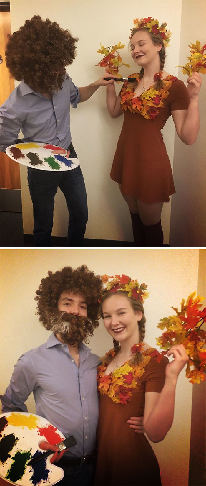 My Boyfriend And I Went As Bob Ross And A Happy Little Tree