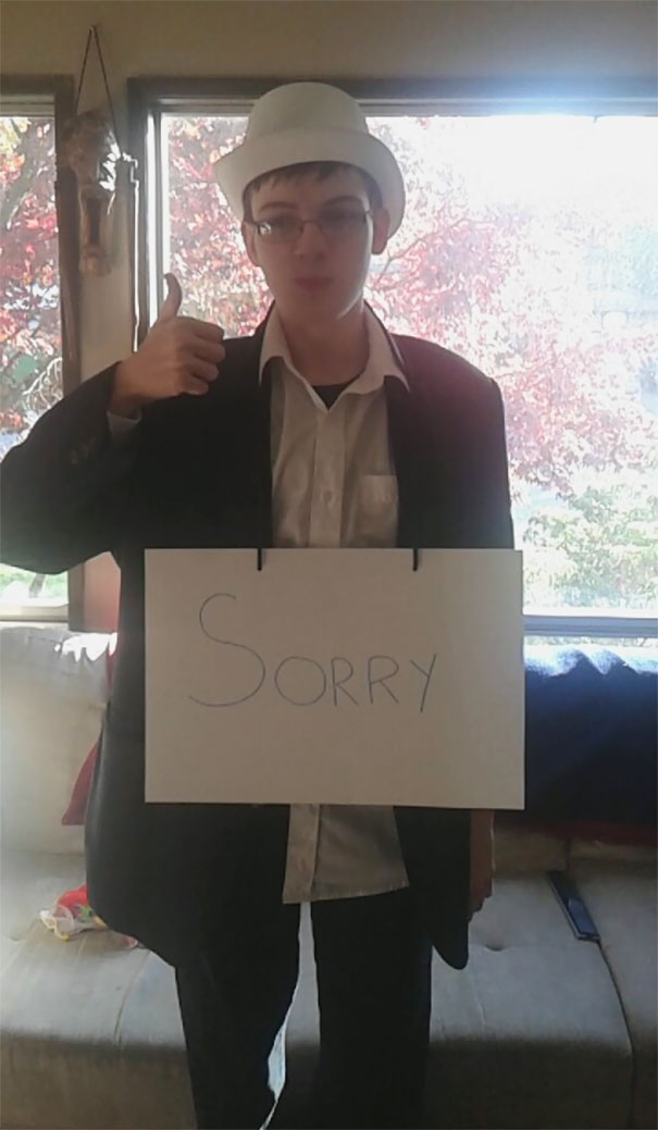 My Little Brother Has Autism, He Thinks A Little Differently Than The Rest Of Us.. This Year He Decided To Be A Formal Apology