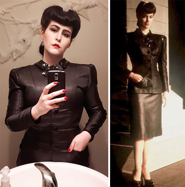 I Figured This Year Was Perfect To Finally Become My Favourite Blade Runner Replicant, Rachael. I Used Six Shoulder Pads And A Sheet Of Plastic Canvas To Get The Jacket's Iconic Shape