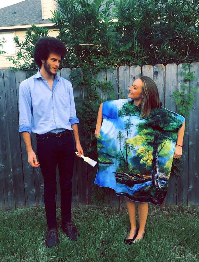 Mi novio y yo fuimos de Bob Ross y su cuadro. Y su pelo es de verdad
