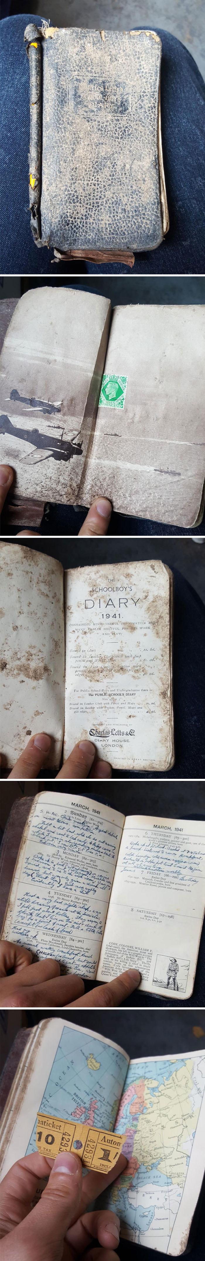 Mi amigo trabaja en reciclaje. Encontró este diario de 1941 lleno de escritos