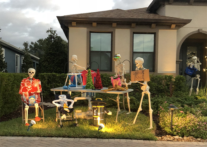 Halloween Skeleton Decorations.Girl Notices Her Neighbor S Halloween Skeletons Are Playing