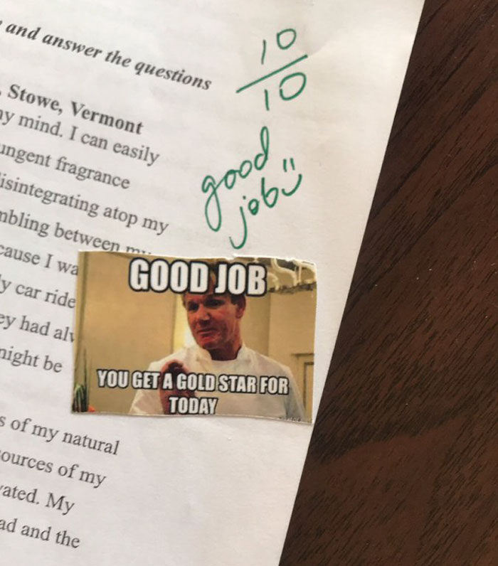 The Way This Teacher Grades Her Student Homework Is So Funny That Even Gordon Ramsay Responds