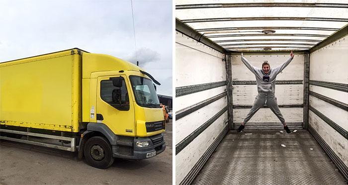 Paar investiert €20.000, um einen alten Laster in ein mobiles Haus zu verwandeln und es sieht besser aus, als viele Wohnungen