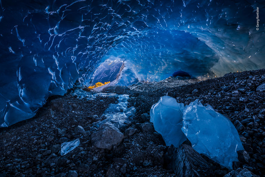 Ice-Cave Blues By Georg Kantioler, Italy, Highly Commended 2018 Earth's Environments