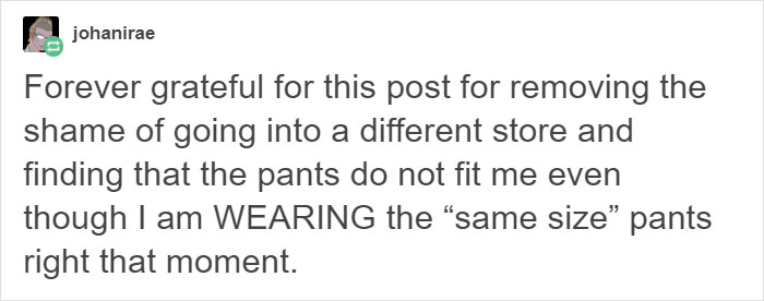 Woman Posts Pics Of Her Wearing Different Pant Sizes To Show What's Wrong With Fashion Industry