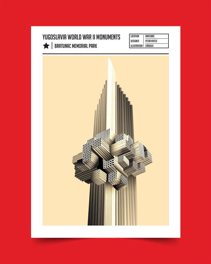 75 Illustrations Of Yugoslavian Brtualist world War Ii Monuments