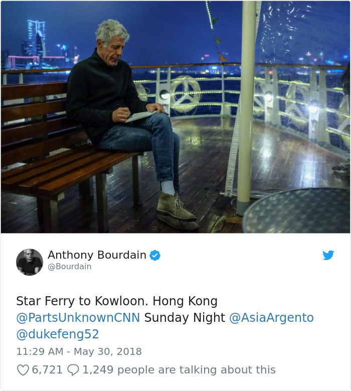 Anthony Bourdain In Hong Kong, The Final Picture Of Himself On Twitter