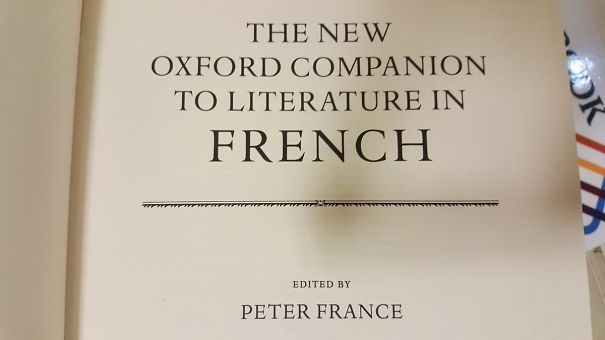 Literature In French Editor Peter France