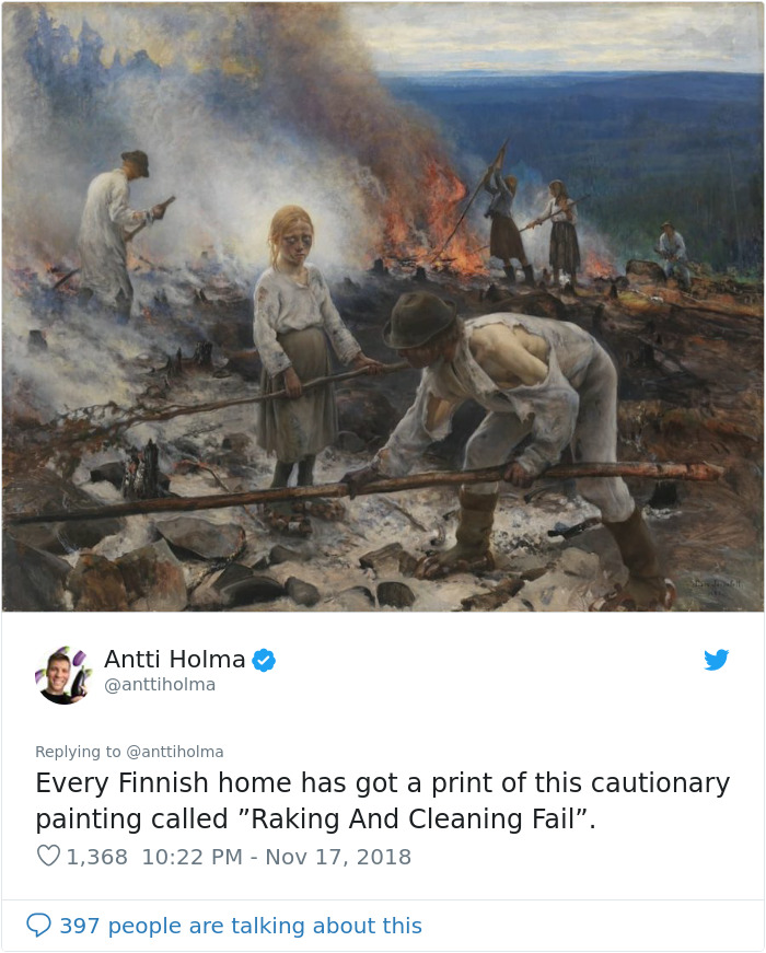 Finns-Troll-Trump-Raking-Leaves-Wildfire-Prevention