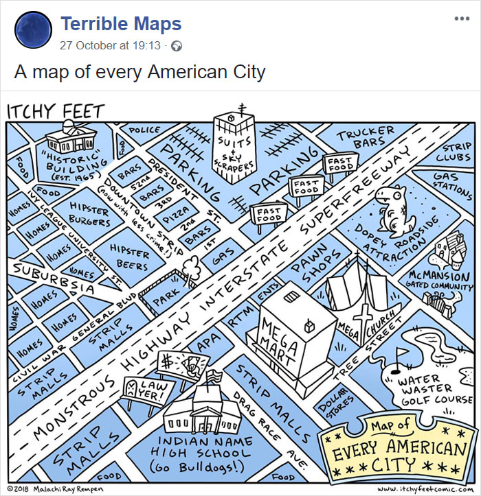 A Map Of Every American City