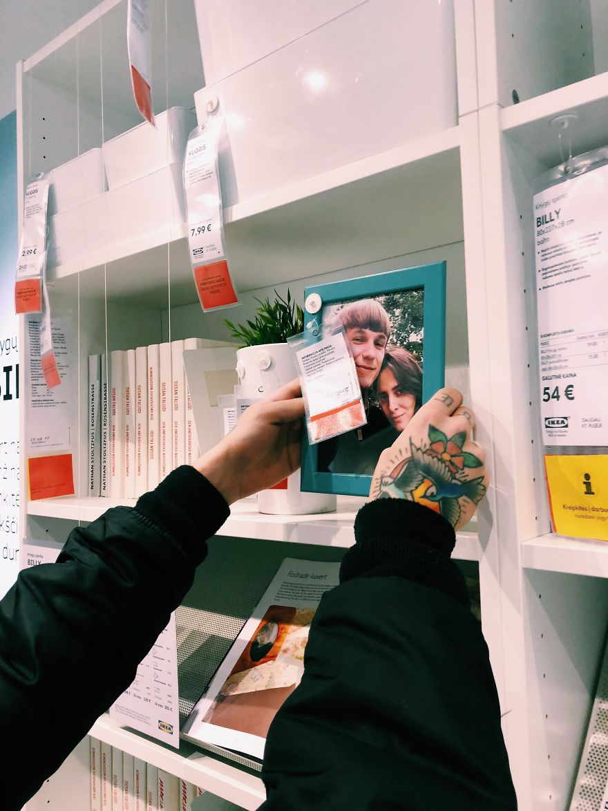 My Girlfriend And I Pranked IKEA By Replacing Boring Fake Stock Photos With Photos Of Ourselves