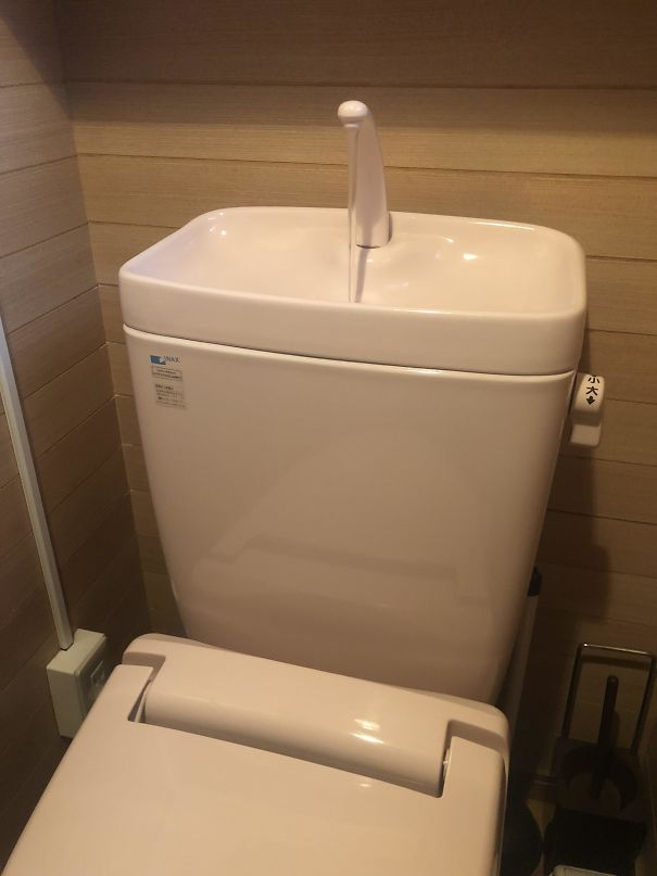 This Japanese Toilet Refills Through A Sink In The Top So You Can Rinse Your Hands And Re-Use The Water