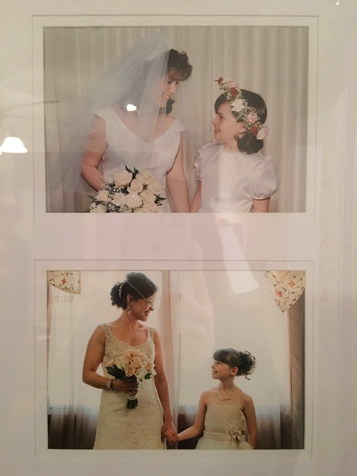 1st Photo: Little Me As Jr. Bridesmaid In My Aunt's Wedding 2nd Photo: Big Me And Little Cousin As Jr. Bridesmaid In My Wedding 17 Years Later