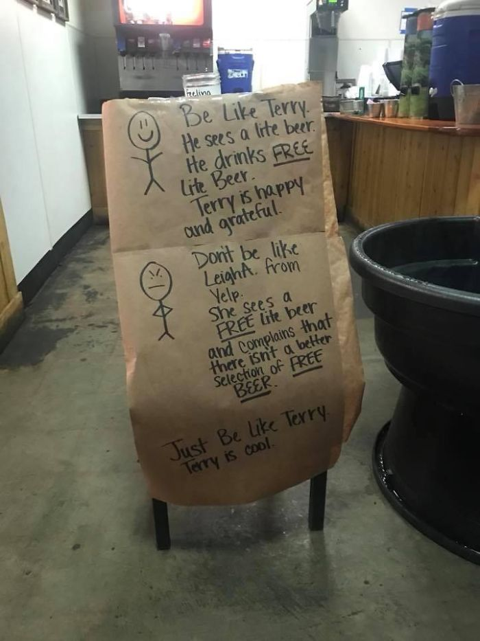 Choosing Beggars Don't Like Free Beer At Local BBQ Joint