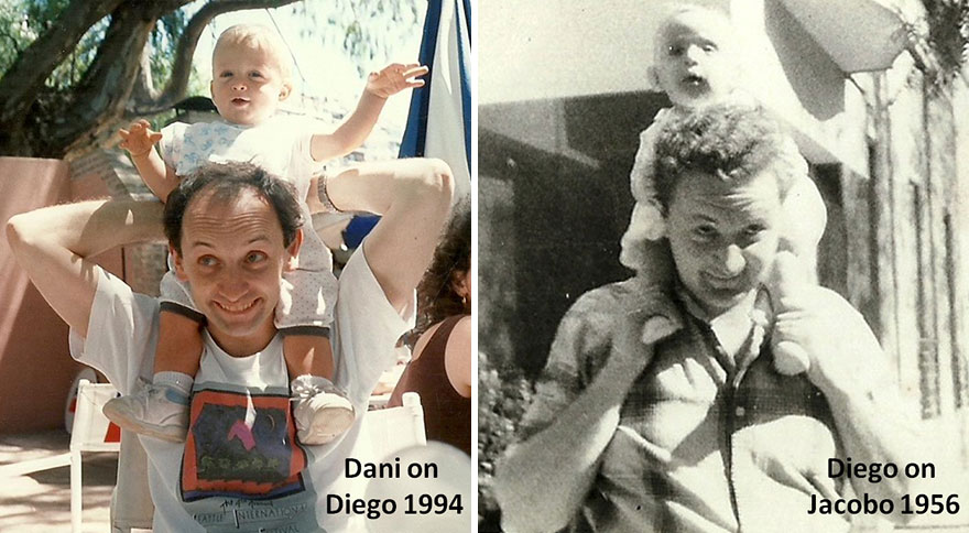 Me On My Father Jacobo's Shoulders And My Son Dani On My Shoulders. Similarity Is By Chance (Or Hidden Causality)