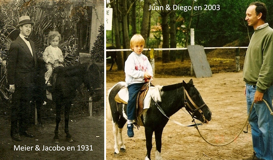 My Grandfather Meier And His Son (My Father) Jacobo And Me And My Son Juan On Ponnies