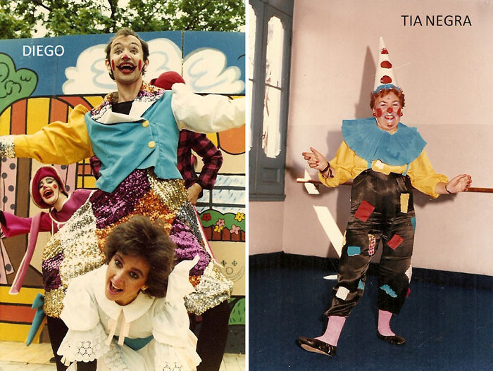 Aunt Negra And Me As Clowns. Matching Colors Are A Coincidence