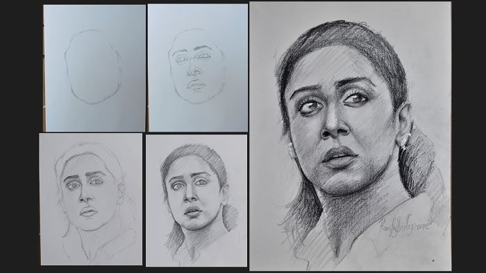 Time Lapse Portrait Drawing Of Jyothika