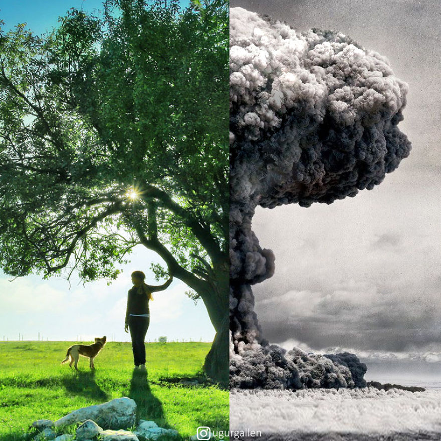 I Show The Contrast Between The Two Worlds That We Currently Live In By Combining Photos (New)