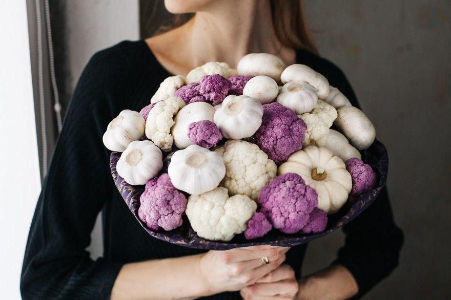 Bouquet From Purple And White Cauliflower, Garlic