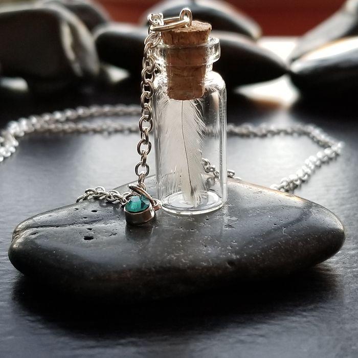 Light Blue Bottled Feather Necklace