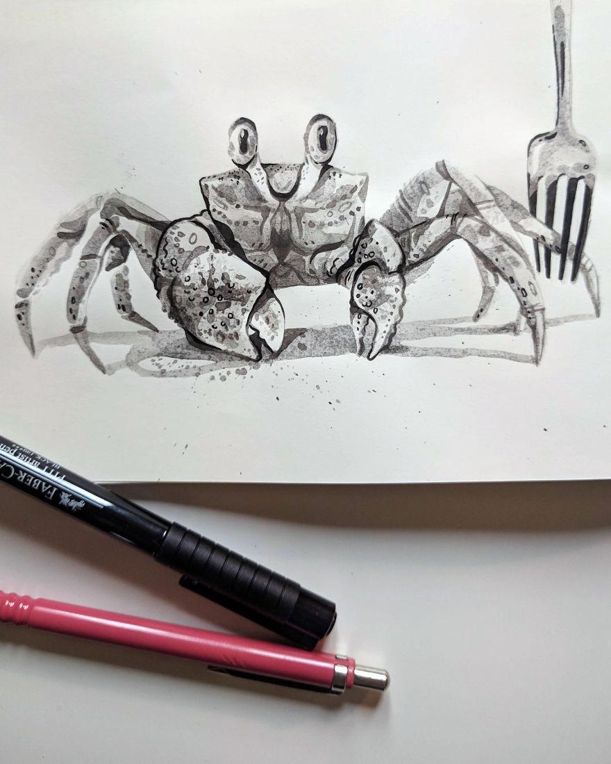 Pen And Ink Drawings For David Attenborough