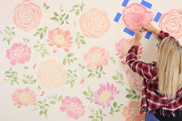 A Floral Watercolor Wallpaper Hack Using Reusable Stencils