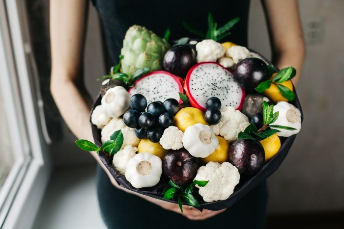 Dragon Fruit, Artichoke, Grapes, Cauliflower, Garlic And Herbs