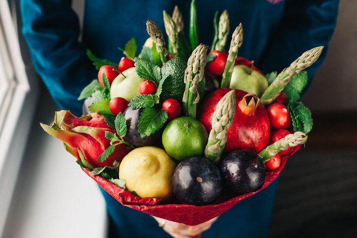 Asparagus, Plums, Radish And Lemons