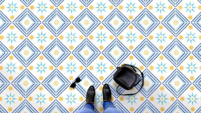 Two Tile Stencils For One Trendy Floor Pattern