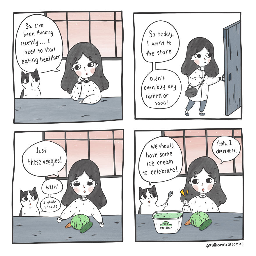 My 21 Wholesome Comics About A Cat And His Human, With A Dash Of Fantasy