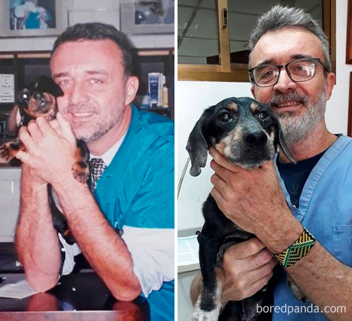 Veterinarian Caring For The Same Dog 15 Years Apart