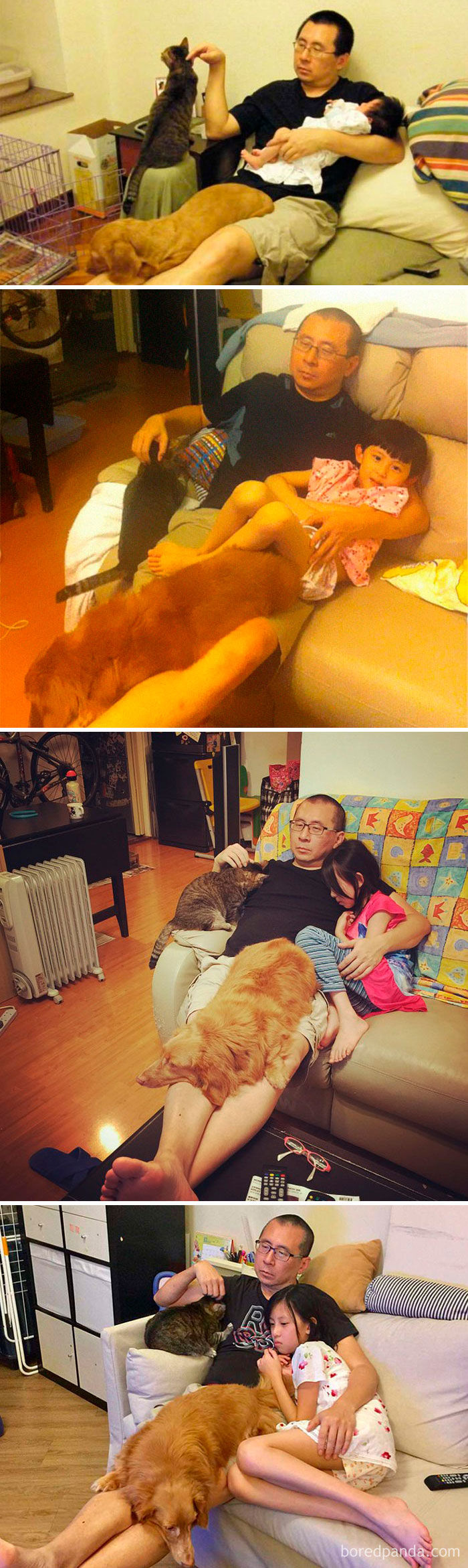 Father, Daughter And Pets Take The Same Photo For 10 Years, And It's Bizarre How Little Things Actually Change