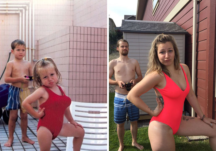 Me And My Sister 20 Years Apart. 1998 - 2018. My Parents Are Hilarious Humans