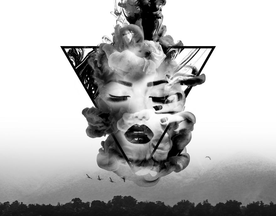 """I Create Digital Artwork Using A Technique Called """"Double Exposure"""" To Cope With Trauma In My Life"""