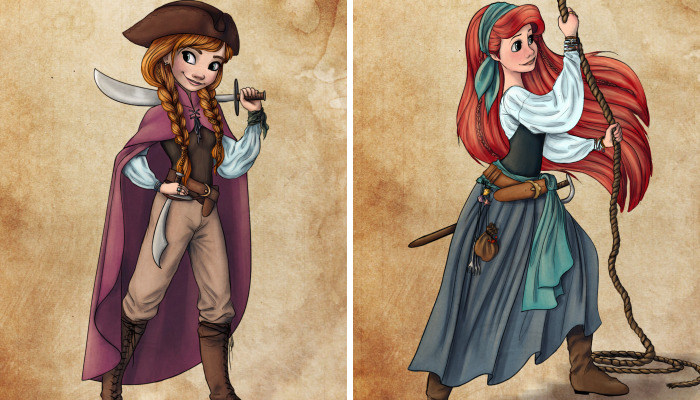 Artist Turns Disney Princesses Into Brave Pirates And The Result Is Lovely