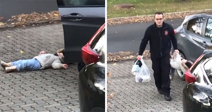 Mom Can't Hold Back Laughter Filming Dad Carry Their Stubborn Child Inside Like A Duffle Bag