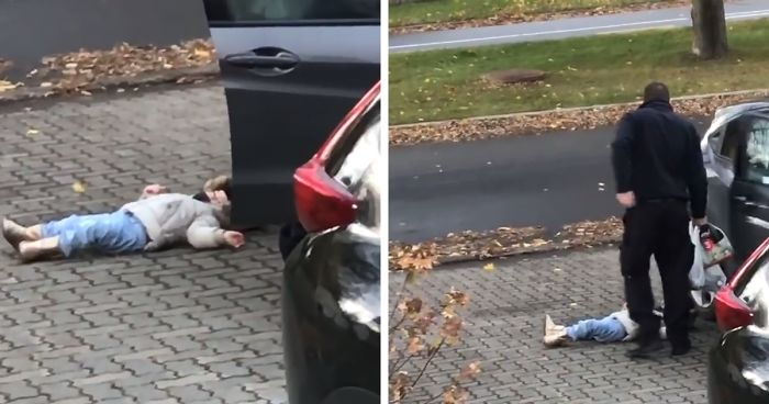 342f2e6c6 Mom Can't Hold Back Laughter Filming Dad Carry Their Stubborn Child Inside  Like A Duffle Bag